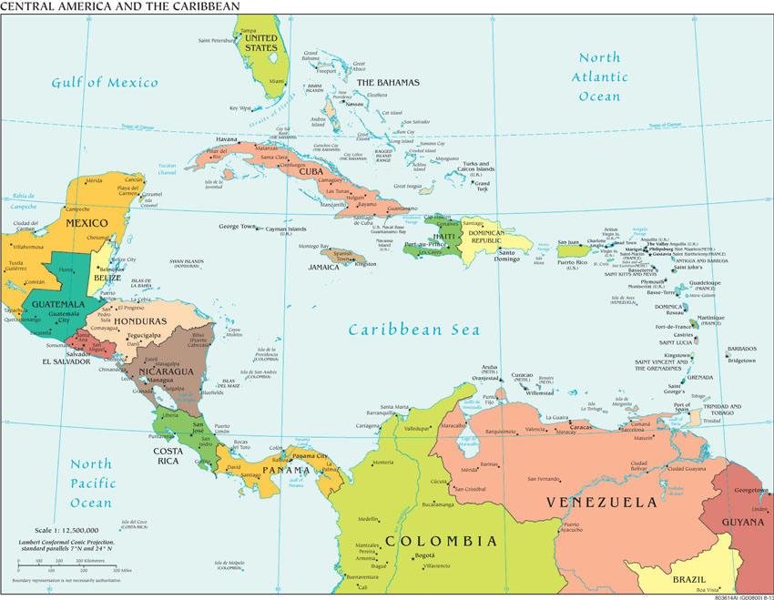 Politische Karte von Mittelamerika
