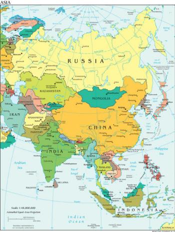 Landkarte Asien.Landkarten Von Asien
