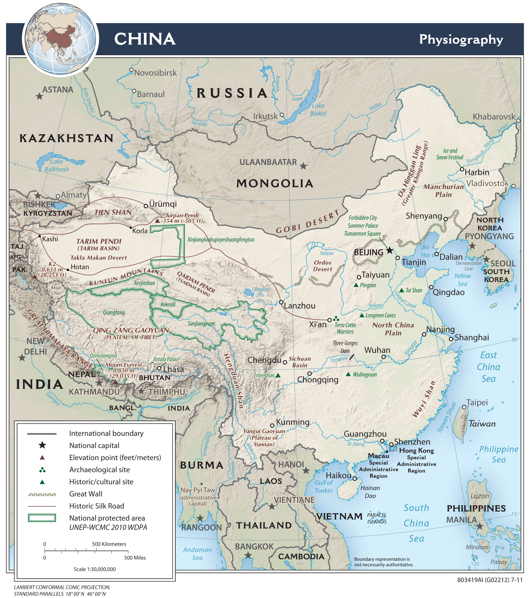 China Karte Physisch.Landkarten Von China Maps Of China