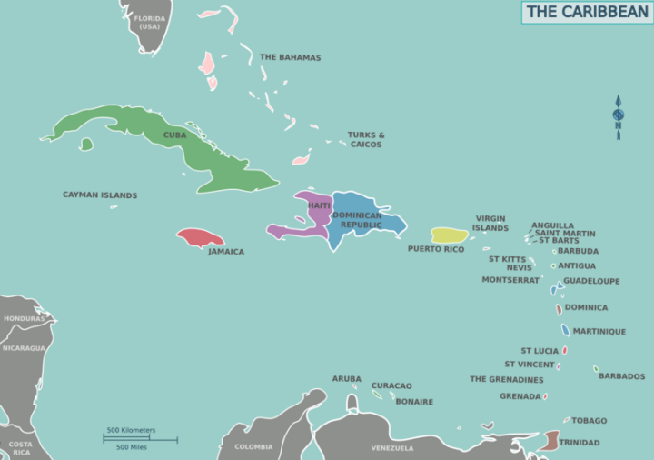 Landkarten der Karibik - Maps of the Caribbean