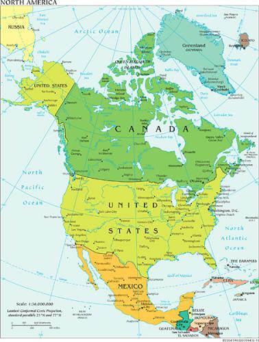 Landkarten Von Nordamerika Insgesamt Sowie Der Einzelnen Lander
