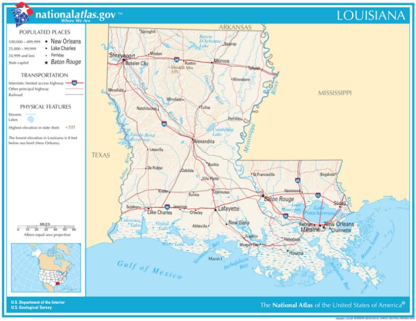 Karten von Louisiana - Maps of Louisiana