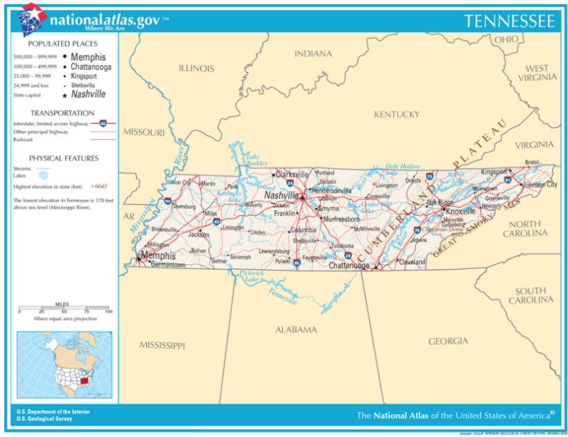 Karten von Tennessee - Maps of Tennessee