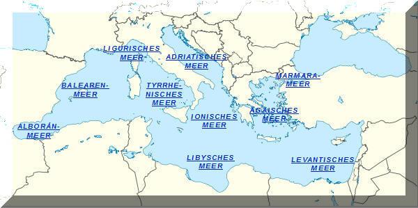 Interaktive Karte Des Meeresregionen Im Mittelmeer Mit Weiteren