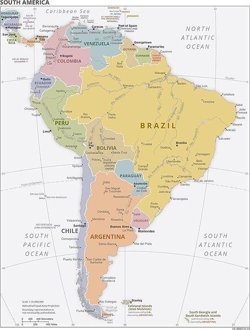 Sudamerika Der Sudliche Teil Des Amerikanischen Doppelkontinents