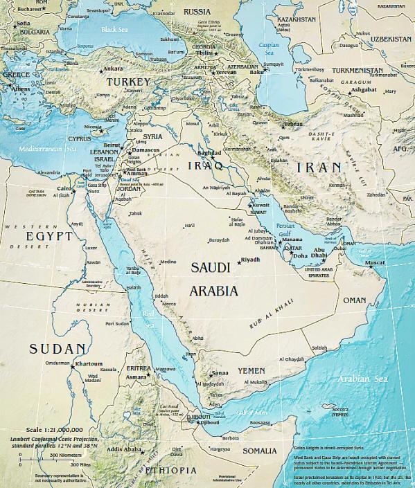 Karte Naher Osten Israel.Landkarten Vom Nahen Osten Staats Und Regionalkarten