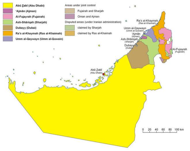 Landkarten Von Den Vereinigten Arabische Emirate