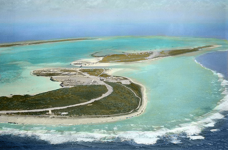 Wake Island and Peale Island, taken from the Northeast in May 1941