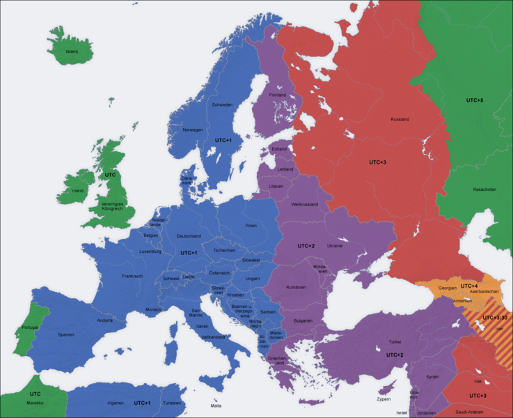 zeitzonen karte Zeitzonenkarte Europa   Überblick über die Zeitzonen in Europa zeitzonen karte